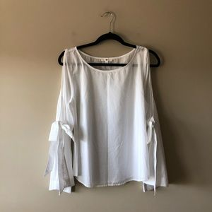 BP. white cold shoulder bell sleeve top